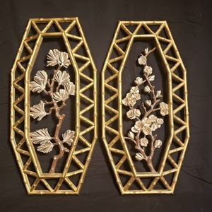 Pair of Vintage Asian Style Wall Decor